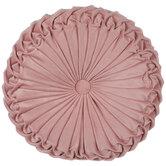 Pink Round Frilled Velvet Pillow
