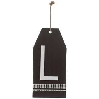 Plaid Tag Letter Wood Wall Decor - L