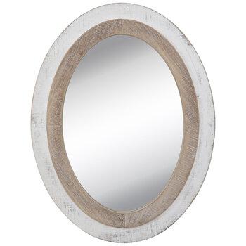 Whitewash Oval Wood Wall Mirror Hobby, Whitewash Oval Wood Wall Mirror