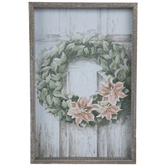 Poinsettia Wreath On Door Wood Wall Decor
