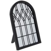 Black Arched WindowMetal Mirror