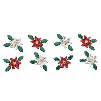 Red & Silver Poinsettia Rhinestone Stickers