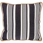 Denim & White Striped Pillow Cover