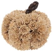Cream Wood Flower Pumpkin