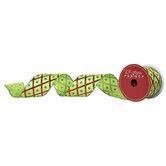 "Green Harlequin Wired Edge Satin Ribbon - 2 1/2"""