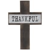 Thankful Wood Wall Cross