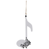 White & Black Floral Eighth Note Wood Wall Decor