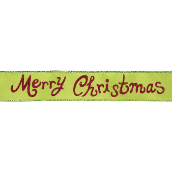 """Lime & Red Merry Christmas Glitter Wired Edge Ribbon - 1 1/2"""""""
