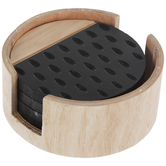 Patterned Wood Coasters With Container