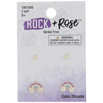 Ball & Rainbow Cubic Zirconia Earrings