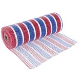 "Red, White & Blue Striped Deco Mesh - 10"""