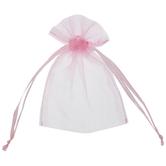 Pink Sheer Wedding Favor Bags - 12 Pieces