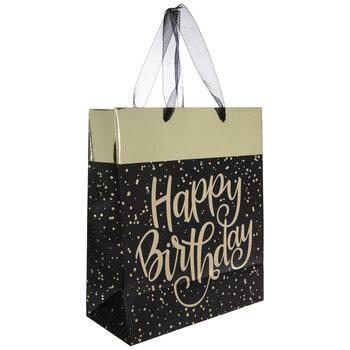 Black & Gold Foil Happy Birthday Gift Bag