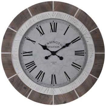 Brown & White Wood Wall Clock