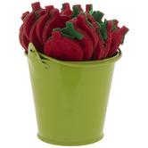 Strawberry Wood Picks In Green Bucket