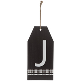 Plaid Tag Letter Wood Wall Decor - J