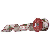 """Merry Christmas Gift Tag & Bow Wired Edge Ribbon - 2 1/2"""""""