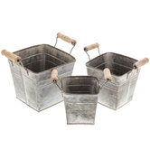 Whitewash Galvanized Metal Container Set