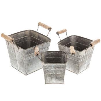 Whitewash Galvanized Metal Container Set