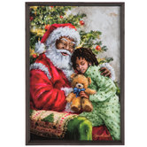 African American Santa With Child Wood Wall Decor