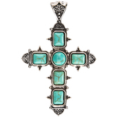 Cross Pendant With Turquoise Stones