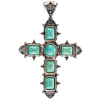 Cross Pendant With Turquoise Stones