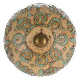 Cream & Turquoise Medallion Knob