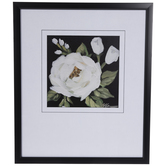 White & Black Floral Framed Wall Decor
