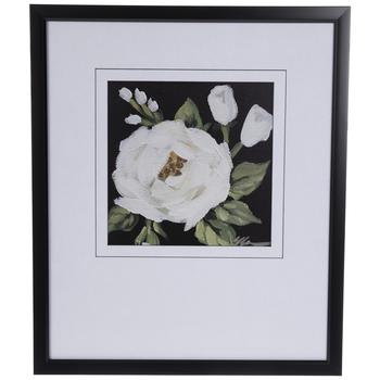 White & Black Floral Framed Wall Decor