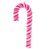 Pink & White Glitter Candy Cane Ornament