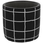 Black & White Grid Flower Pot