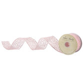 """Light Coral Glitter Wired Edge Netting Ribbon - 1 1/2"""""""