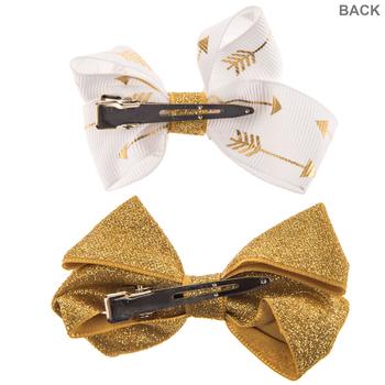 Gold Glitter Arrow Bow Hair Clips