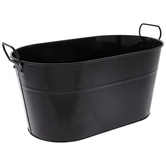 Black Oval Metal Container