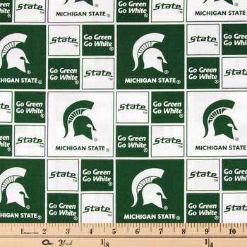 Michigan State Block Collegiate Cotton Fabric