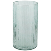 Turquoise Textured Leaves Glass Vase