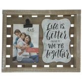 "Life Is Better Wood Clip Frame - 4"" x 6"""