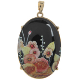 Black Stone Pendant With Floral Print