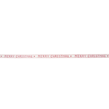 """Off-White & Red Merry Christmas Twill Ribbon - 5/8"""""""