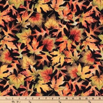 Orange, Yellow & Green Leaves Cotton Apparel Fabric