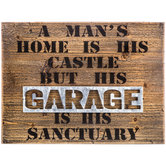 Garage Is His Sanctuary Wood Wall Decor