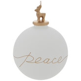 Peace Reindeer Topped Ball Ornament