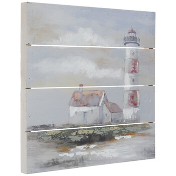 Painted Striped Lighthouse Wood Wall Decor