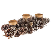 Glittered Pinecone Candle Holder Centerpiece