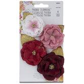 Red Glitter Flower Embellishments