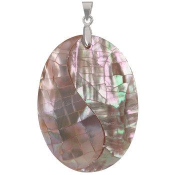 Oval Cracked Mosaic Shell Pendant