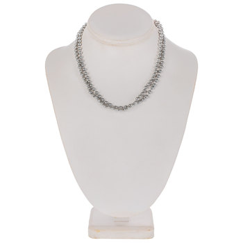 Gray Knotted Glass Pearl Necklace