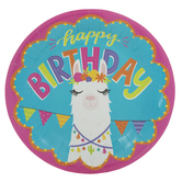 Happy Birthday Llama Paper Plates - Large