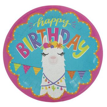 Happy Birthday Llama Paper Plates - Large