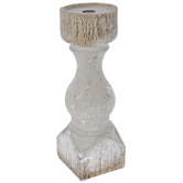 Gray Distressed Pedestal Candle Holder